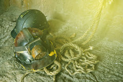 Vintage photo of Dirty construction helmets. Royalty Free Stock Images
