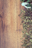 Vintage photo, Dried and fresh green mint with mortar, healthy lifestyle, copy space for text Royalty Free Stock Photo