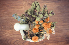 Vintage photo, Dried herbs and flowers in white mortar, herbalism, decoration Stock Images