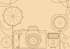 Vintage photo equipment. Illustration with photoequipment- camera, light, flash, umbrellas Royalty Free Stock Photo