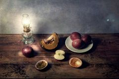 Still life of fruit scenes on a table in vintage background Stock Images