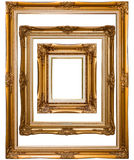 Vintage photo frame. Isolated vintage golden photo frame stock photos