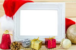 Vintage photo frame and christmas decorations. Royalty Free Stock Photos