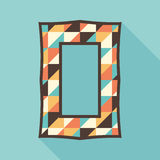 Vintage photo frame with colorful triangles. Stock Images