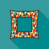 Vintage photo frame with colorful triangles and rhombuses. Royalty Free Stock Photos