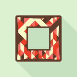 Vintage photo frame with colorful triangles and squares. Stock Photography