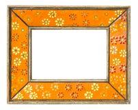 Vintage photo frame. Orange flower ceramic fhoto frame  nostalgia feeling Royalty Free Stock Photo