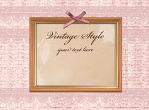 Vintage photo frame over grunge sack background Royalty Free Stock Photography