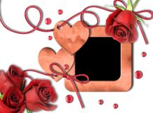 Vintage photo frame, red roses and heart Stock Photo