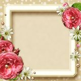 Vintage Photo Frame with roses Stock Photos