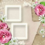 Vintage Photo Frame with roses Royalty Free Stock Photo