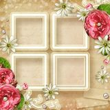 Vintage Photo Frame with roses Royalty Free Stock Images