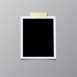 Vintage photo frame sticked on tape isolated on grey background. Vector illustration. Stock Photo