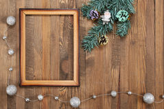 Vintage photo frame on wooden background Stock Images