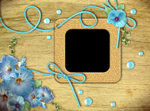 Vintage photo frames and blue mallow flowers Stock Image
