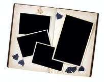 Vintage photo frames in a book with photo corners, free copy spa Stock Image