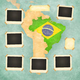 Vintage photo frames (Brazil). Vintage photo frames on the background with the vintage map of Brazil. On the map is Brazilian flag painted in the country borders Royalty Free Stock Image