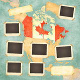 Vintage photo frames (Canada). Vintage photo frames on the background with the vintage map of Canada. On the map is Canadian flag painted in the country borders Royalty Free Stock Photos