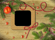 Vintage photo frames and Christmas tree Royalty Free Stock Photography