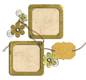 Vintage photo frames and flowers isolated Stock Images