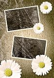 Vintage photo frames over sack background Stock Photography