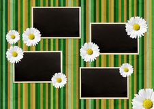 Vintage photo frames over striped background Stock Photos