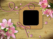 Vintage photo frames and pink lily Royalty Free Stock Photos