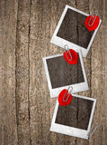 Vintage photo frames with red rose petals Royalty Free Stock Photography