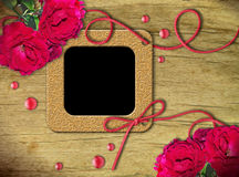 Vintage photo frames and roses Stock Photo