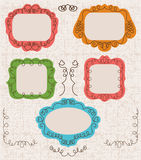 Vintage photo frames set, drawing doodle style, Royalty Free Stock Photography