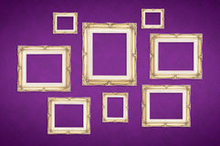 Vintage photo frames with Thai pattern at purple background,Temp Royalty Free Stock Photos