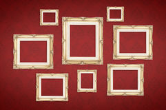 Vintage photo frames with Thai pattern at red background,Templat Stock Photos