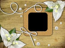 Vintage photo frames and tropical flower Royalty Free Stock Photos