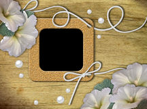 Vintage photo frames and white mallow Royalty Free Stock Image