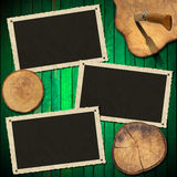 Vintage Photo Frames on Wood Green Wall Royalty Free Stock Photos