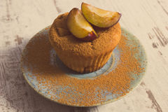 Vintage photo, Fresh baked muffins with plums and powdery cinnamon on plate, delicious dessert Royalty Free Stock Image