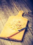 Vintage photo of fresh lentil and wheat sprouts Royalty Free Stock Photo