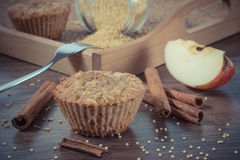 Vintage photo, Fresh muffins with millet groats, cinnamon and apple baked with wholemeal flour, delicious healthy dessert