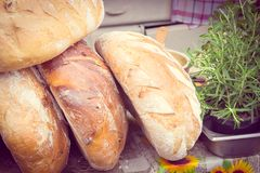 Vintage photo, Freshly baked traditional loaves of rye bread on stall Stock Image