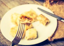 Vintage photo of fried dumplings Stock Photography