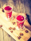 Vintage photo of glasses with mulled wine Royalty Free Stock Image