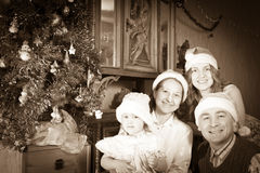 Vintage photo of happy  family at Christmas time Stock Image