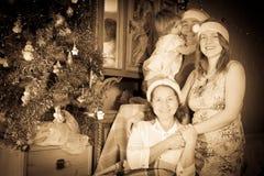 Vintage photo of happy  family Stock Photos