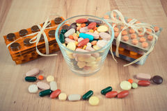Vintage photo, Heap of colorful medical pills and capsules, health care concept Stock Image