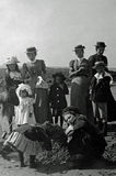 Vintage Photo 1901, Family on Beach, Aberystwyth, Wales Stock Photos
