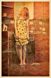 Vintage photo of a housewife Royalty Free Stock Image