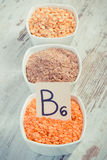 Vintage photo, Ingredients containing vitamin B6 and dietary fiber, concept of healthy nutrition Stock Photo