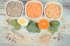 Vintage photo, ingredients containing vitamin B1 and dietary fiber, healthy nutrition concept Stock Photo