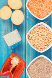 Vintage photo, Ingredients containing vitamin B6 and dietary fiber, healthy nutrition Stock Photo