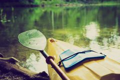 Vintage photo of kayaking by Krutynia river in Poland Stock Image